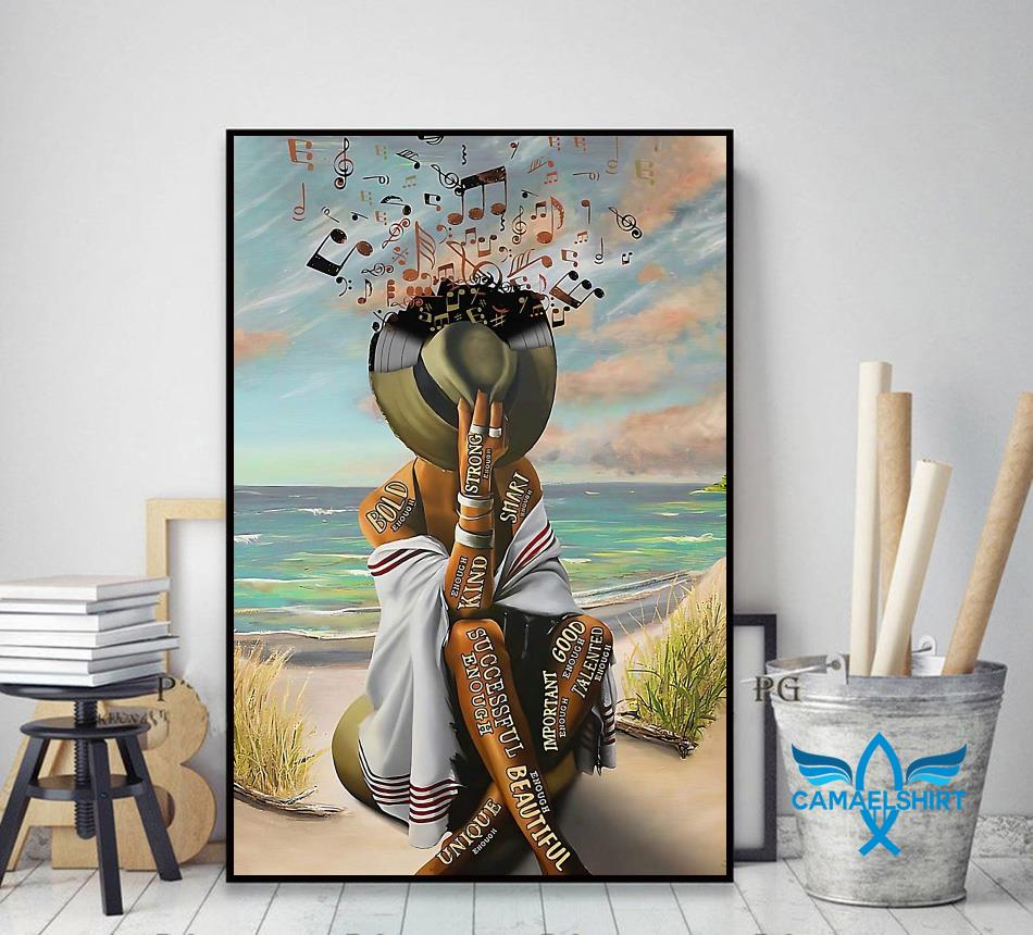 Girl loves music in beach smart strong good important poster decor art