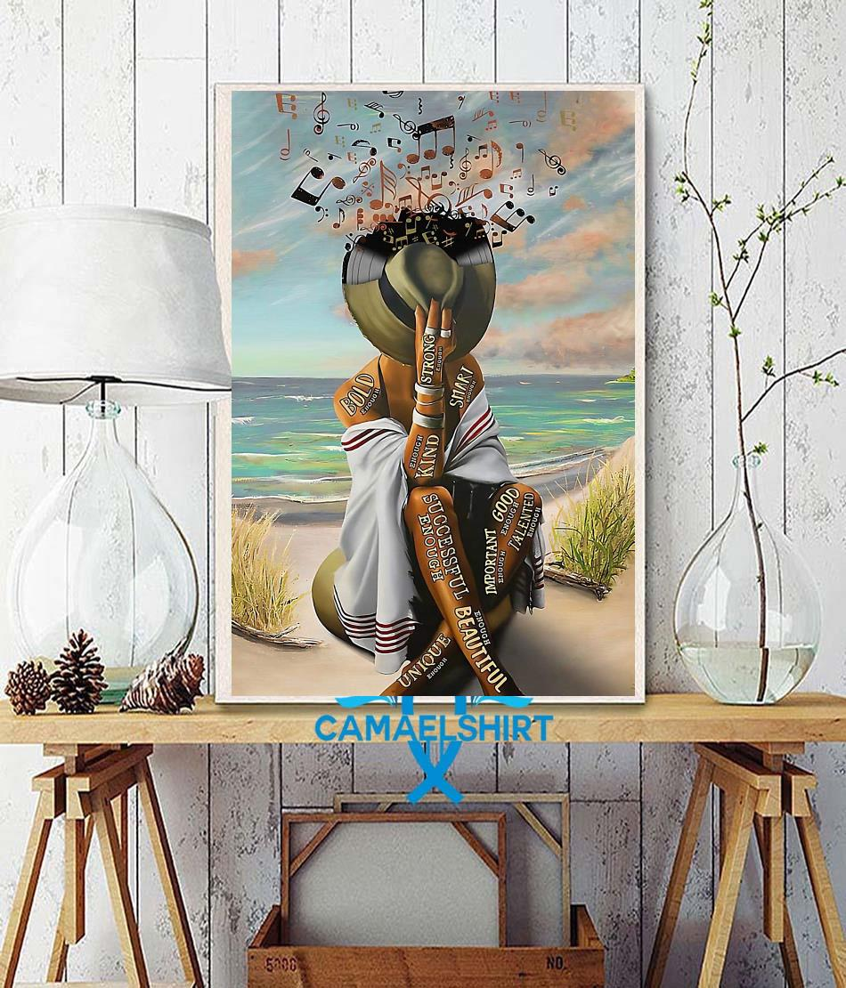 Girl loves music in beach smart strong good important poster wall decor