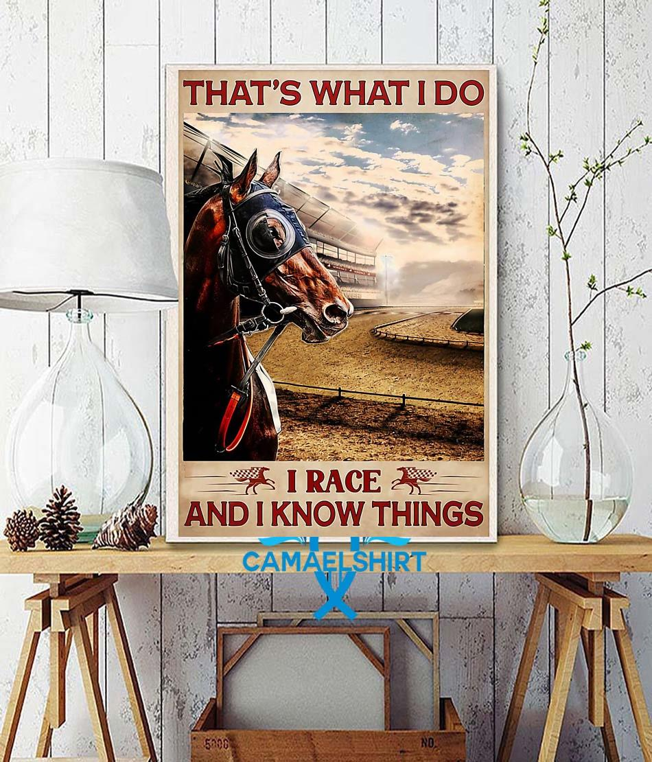 Horse racing that's what I race and I know things poster wall decor