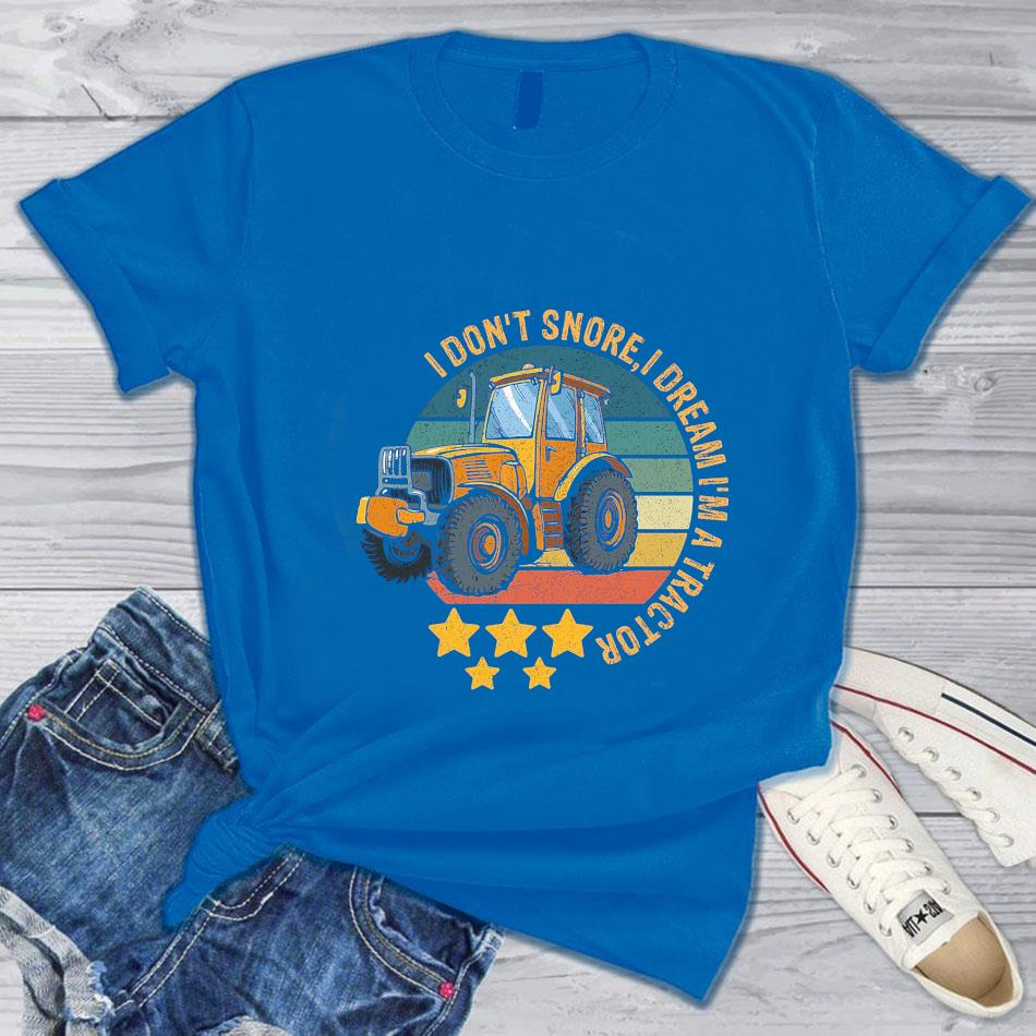 I don't snore I dream I'm a tractor farming vintage t-s blue