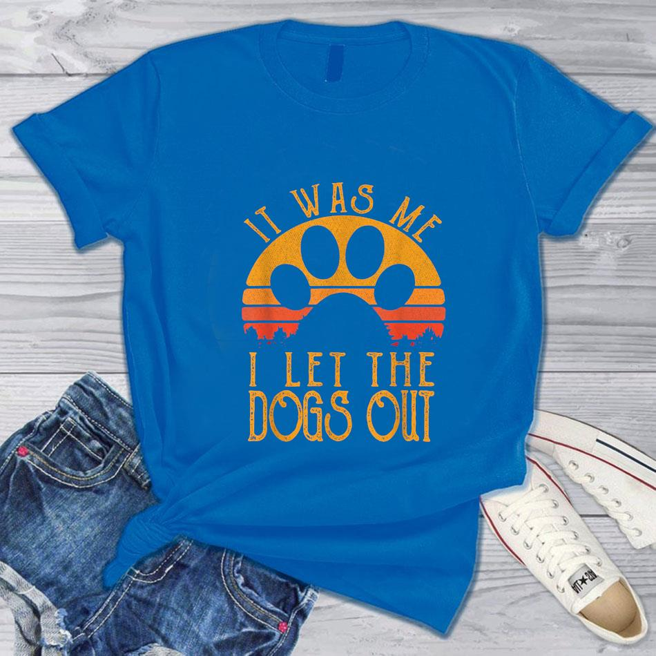 It was me I let the dogs out retro t-s blue