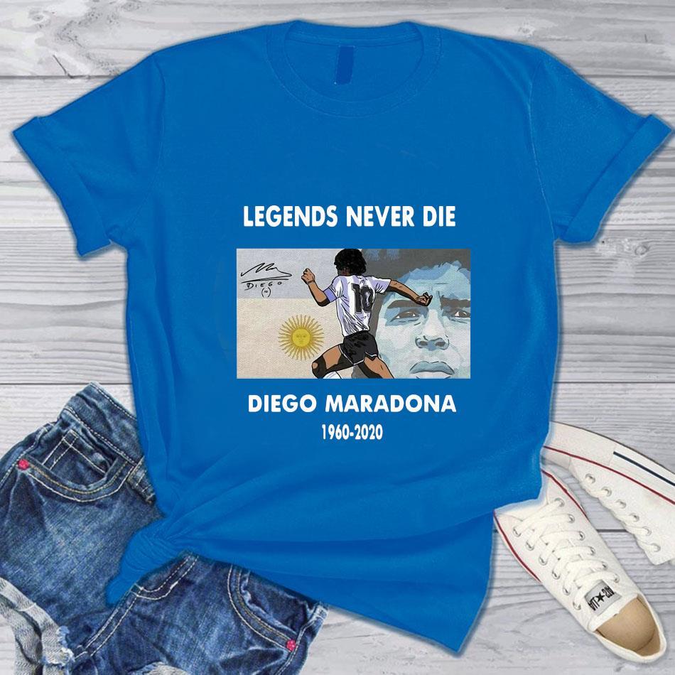 Legend Diego Maradona memories t-s blue