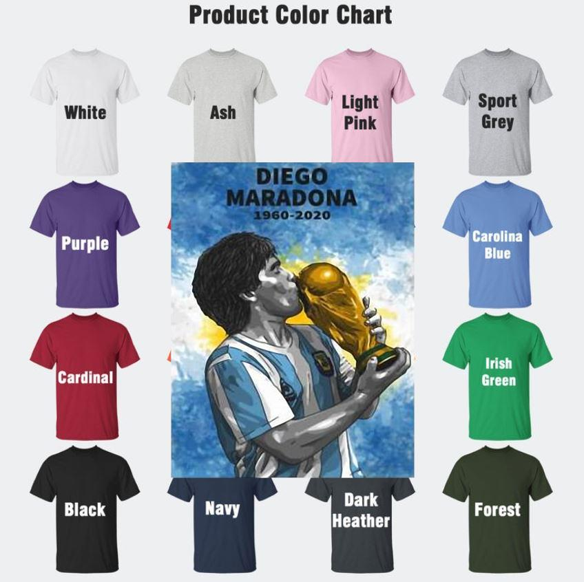 Maradona 1960-2020 fan lovers thank you for the memories t-s Camaelshirt Color chart
