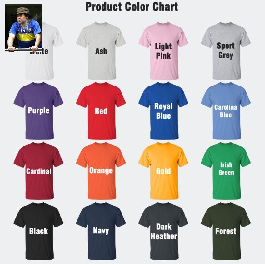 Maradona smoking football legend t-s Camaelshirt Color chart
