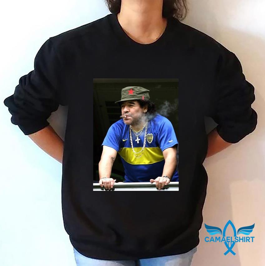 Maradona smoking football legend t-s sweatshirt