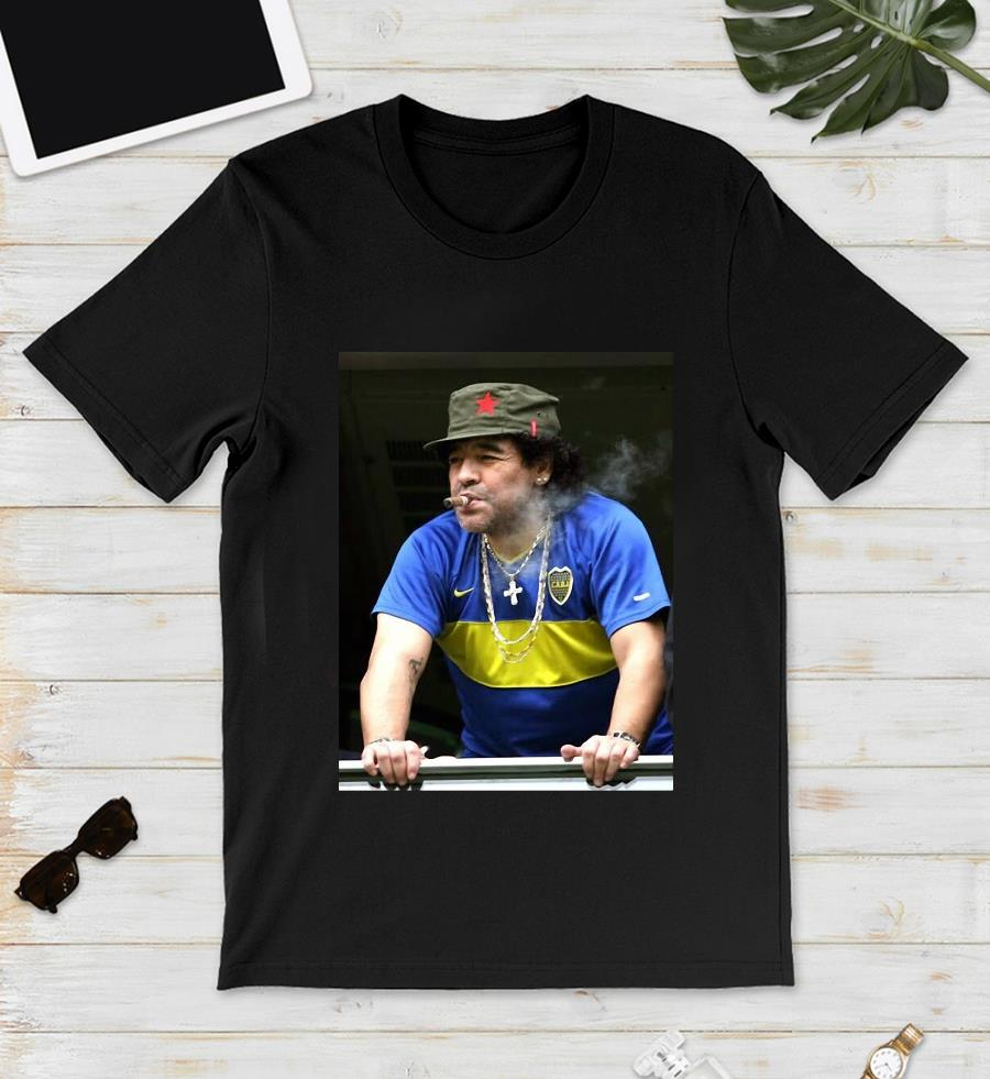 Maradona smoking football legend t-s unisex