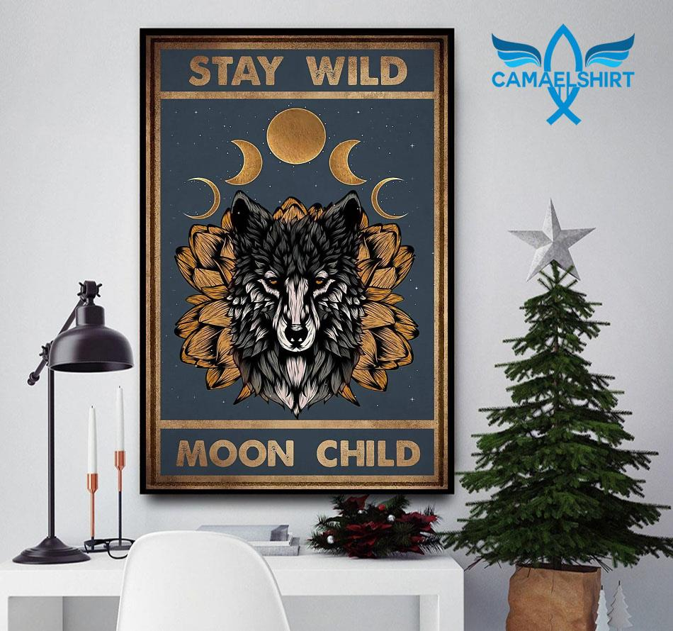 Sunflower Wolf stay wild moon child vertical poster