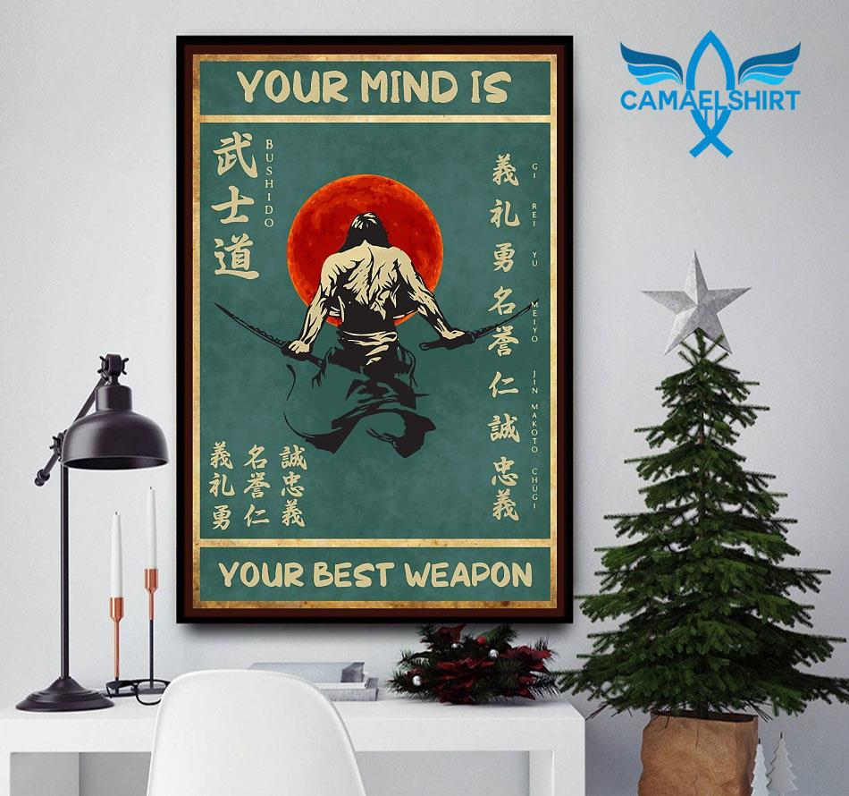 Sword samurai your mind is your best weapon vintage poster