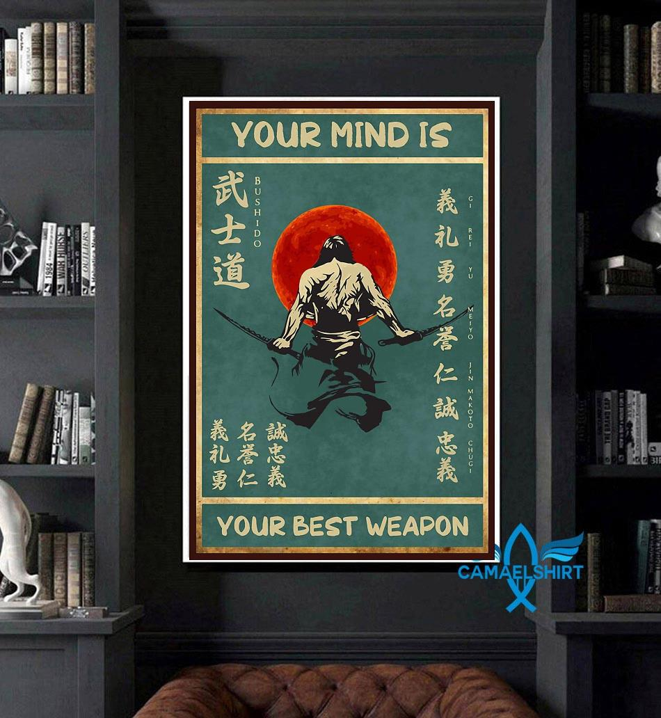 Sword samurai your mind is your best weapon vintage poster art