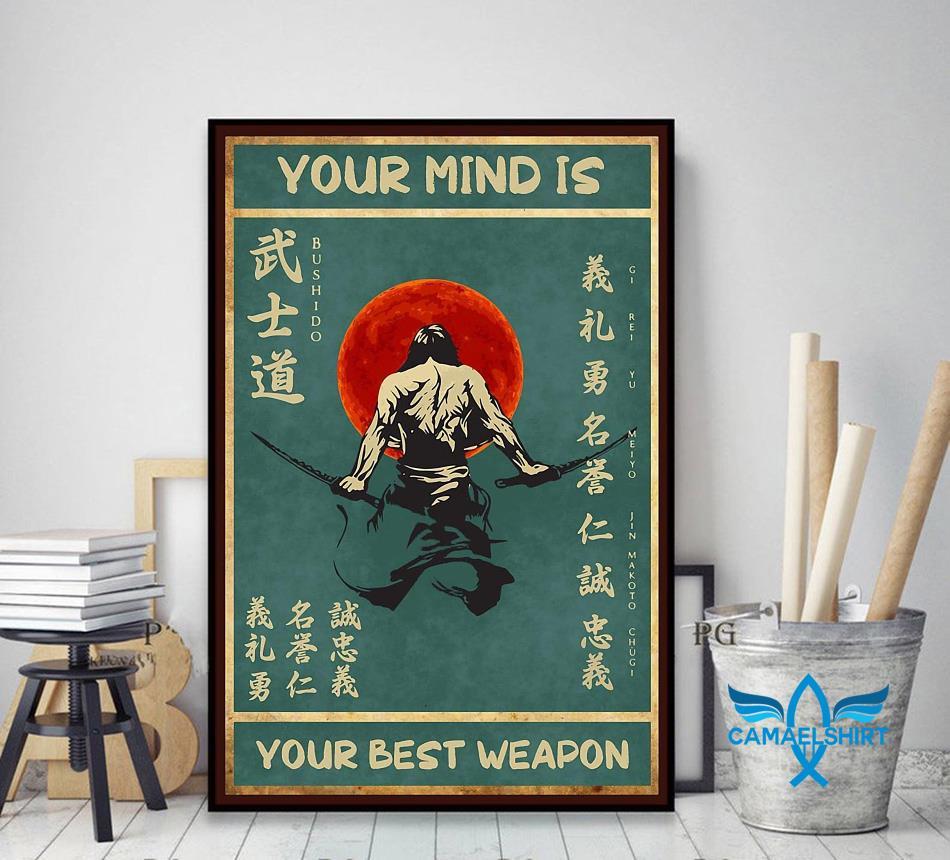 Sword samurai your mind is your best weapon vintage poster decor art