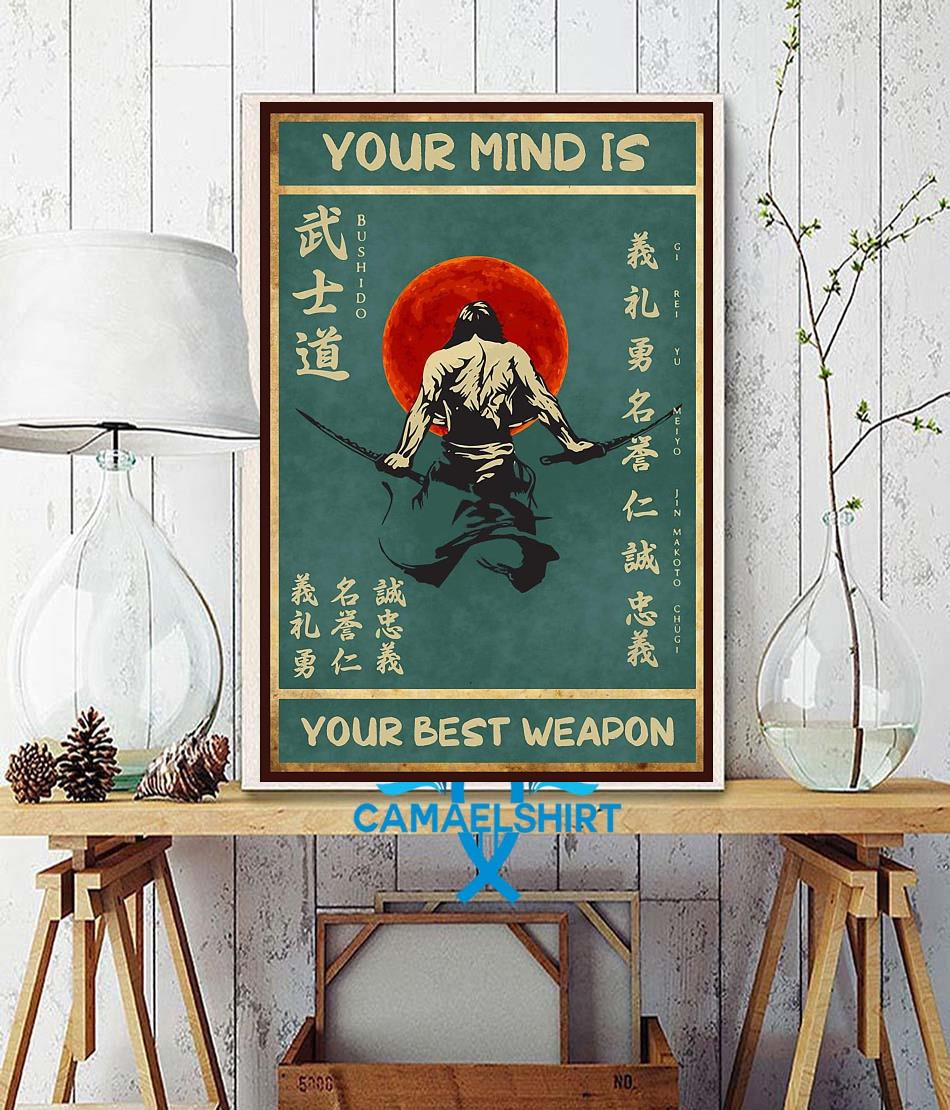 Sword samurai your mind is your best weapon vintage poster wall decor