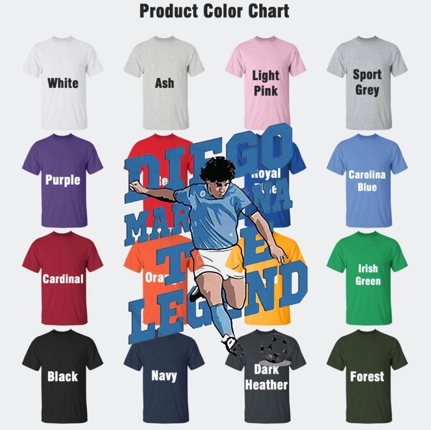 The golden boy hand of God Diego Maradona t-s Camaelshirt Color chart