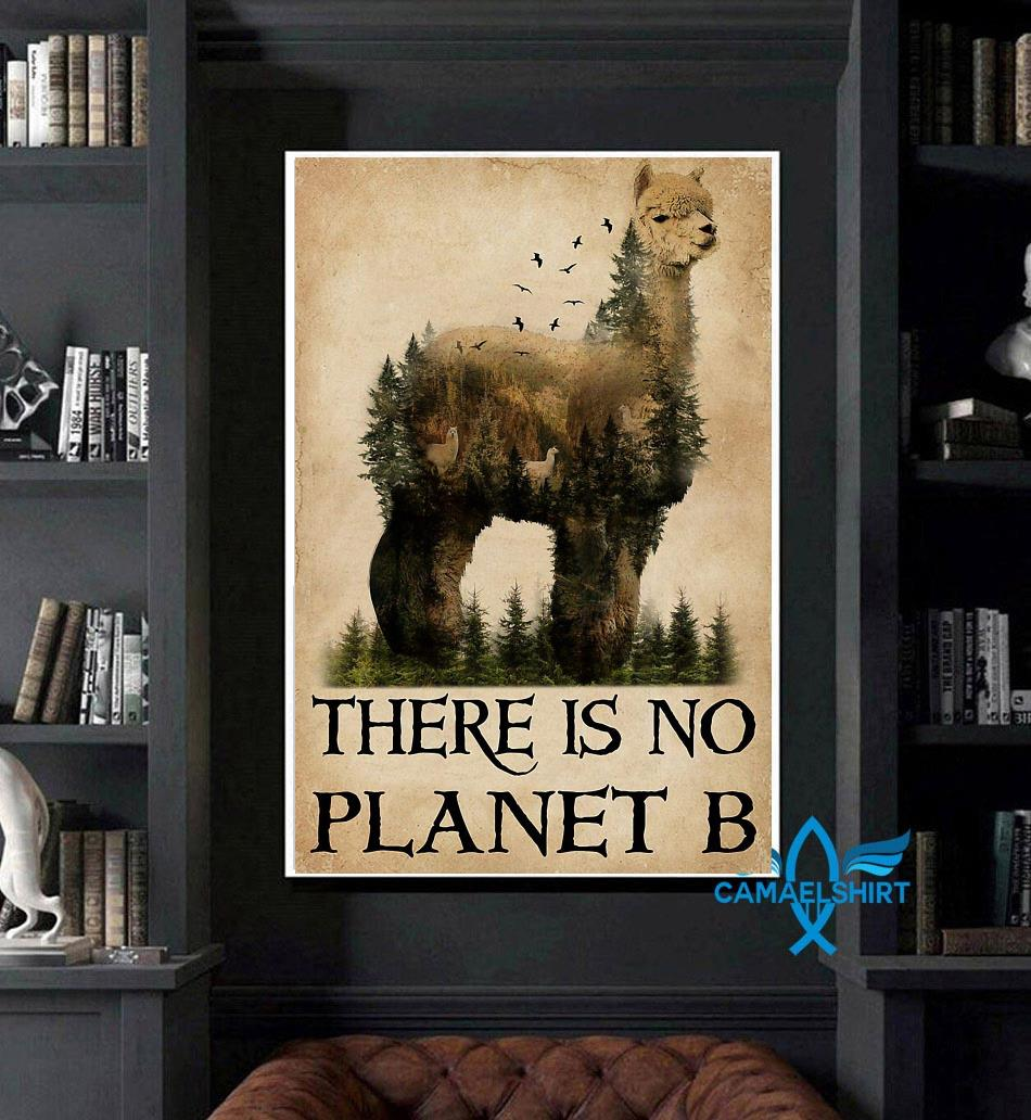 Alpaca nature there is no planet B poster canvas art