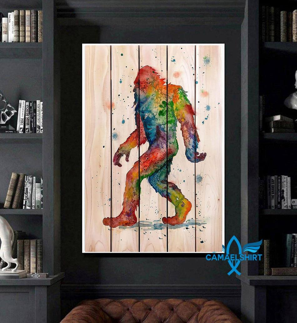 Bigfoot Watercolor Wooden poster canvas art