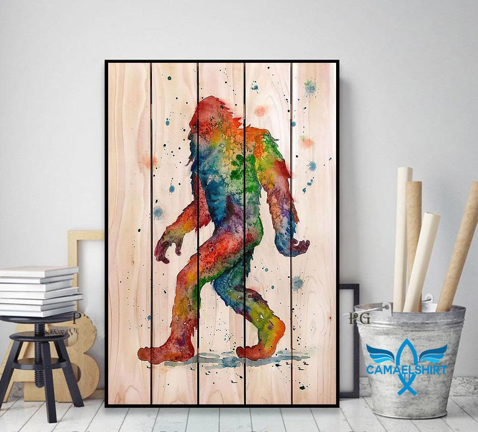 Bigfoot Watercolor Wooden poster canvas decor art