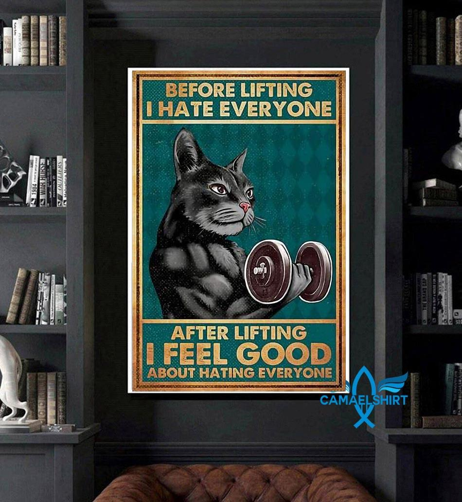 Black cat before lifting I hate everyone poster canvas art