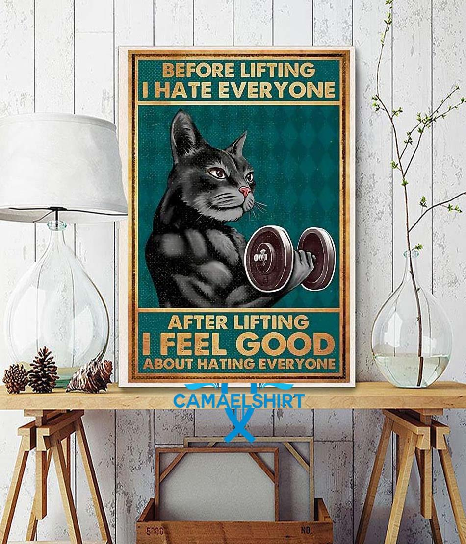 Black cat before lifting I hate everyone poster canvas wall decor