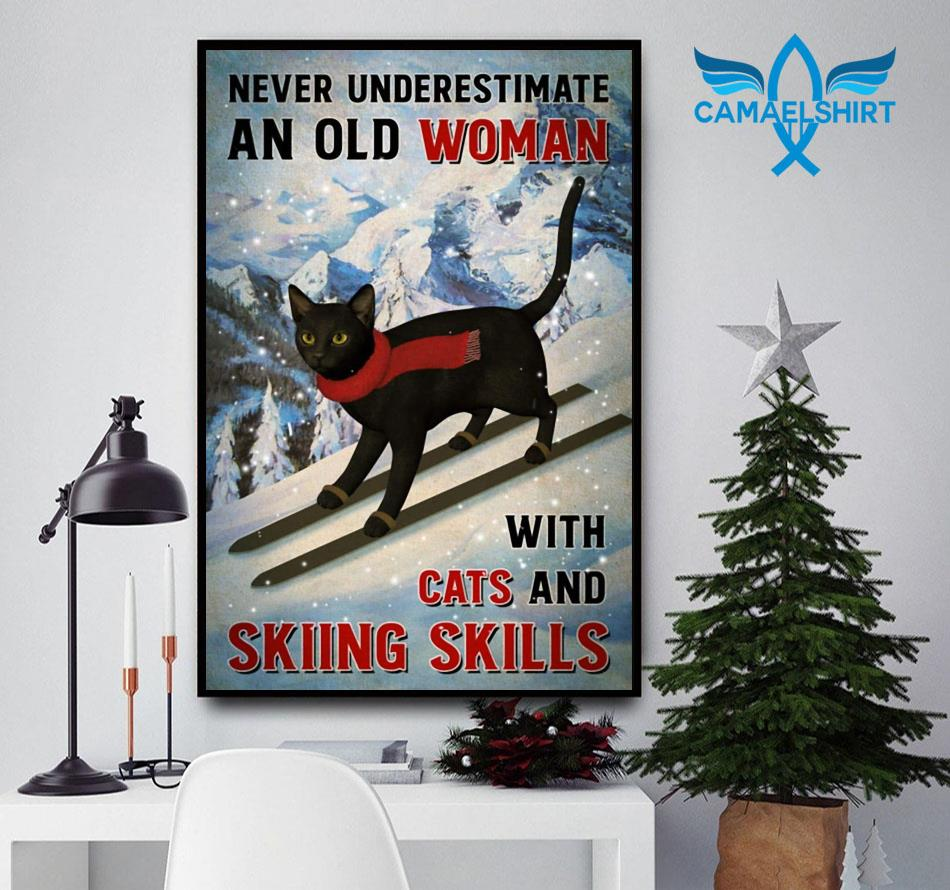 Black cat poster never underestimate old woman with cats and skiing Skills poster canvas