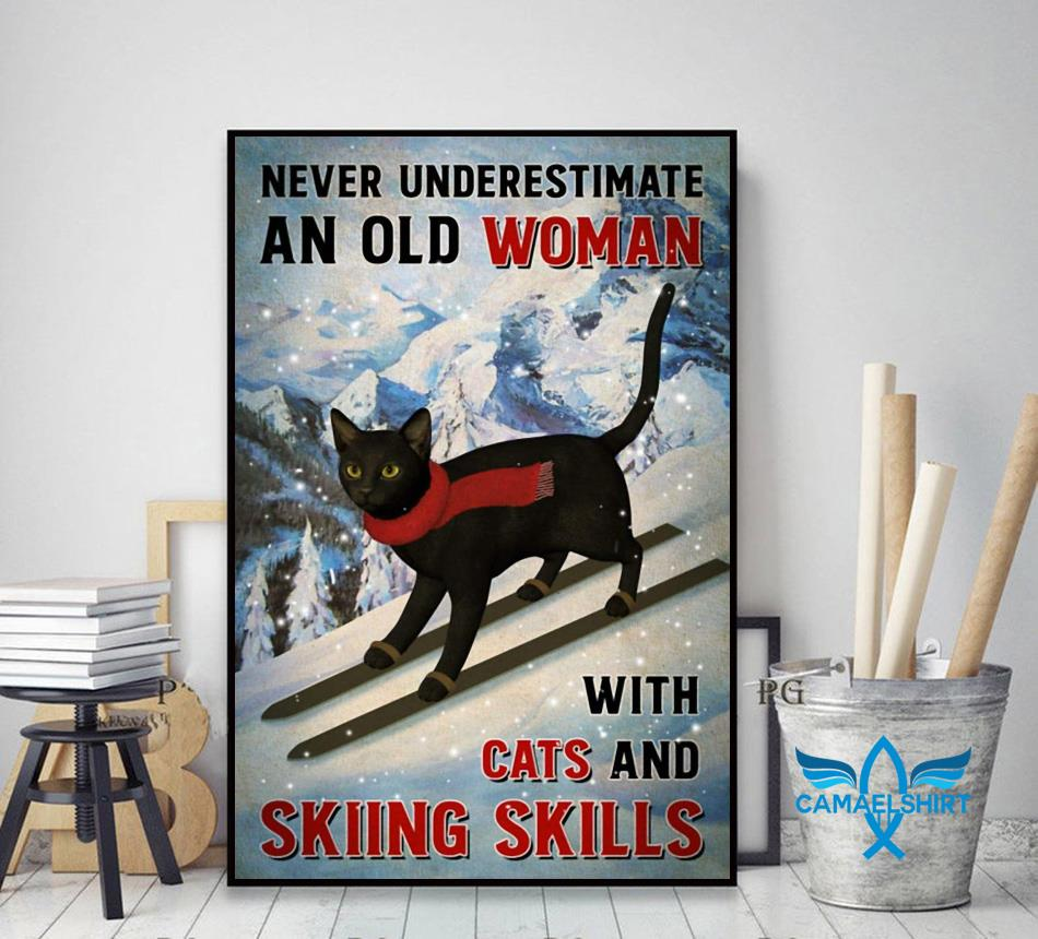 Black cat poster never underestimate old woman with cats and skiing Skills poster canvas decor art
