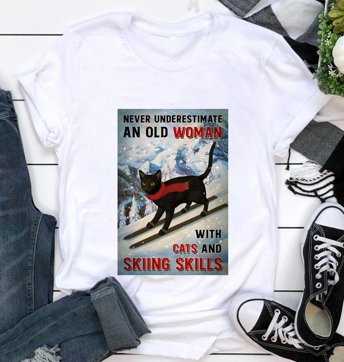 Black cat poster never underestimate old woman with cats and skiing Skills poster canvas t-shirt
