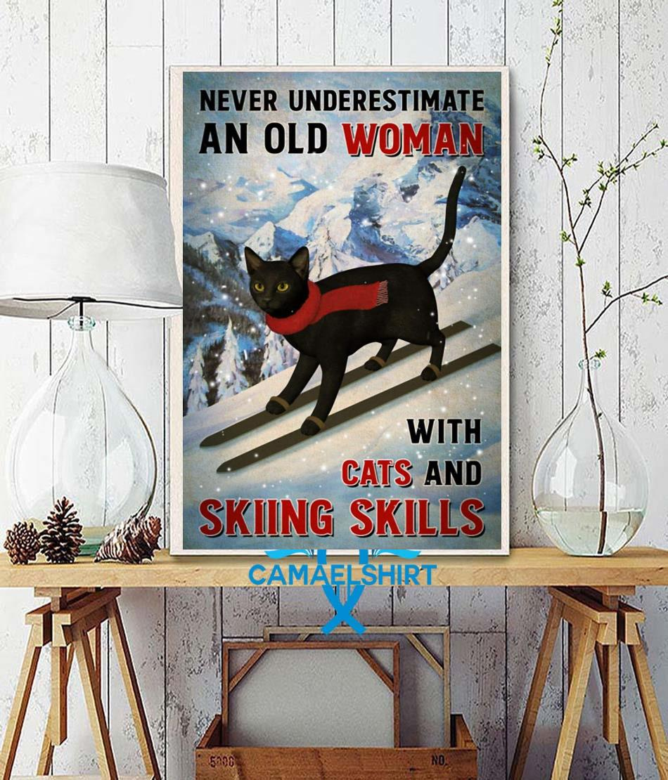 Black cat poster never underestimate old woman with cats and skiing Skills poster canvas wall decor