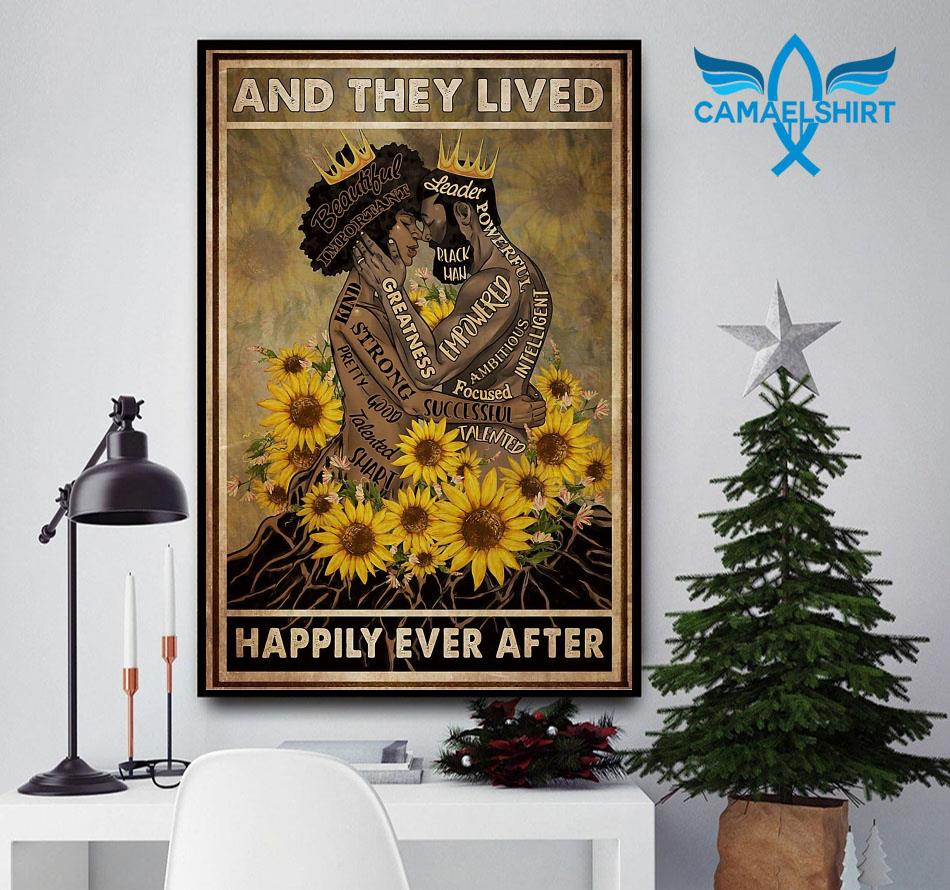 Black couple sunflower and she lived happily ever after poster canvas