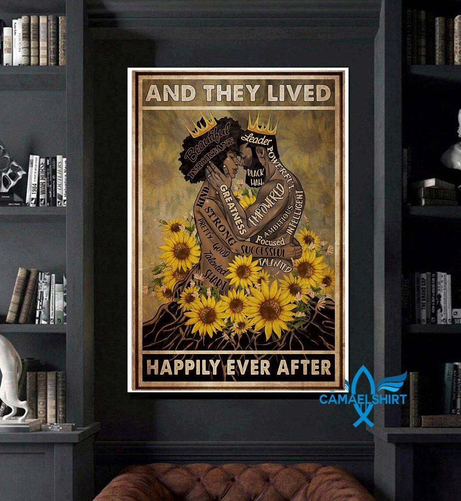 Black couple sunflower and she lived happily ever after poster canvas art