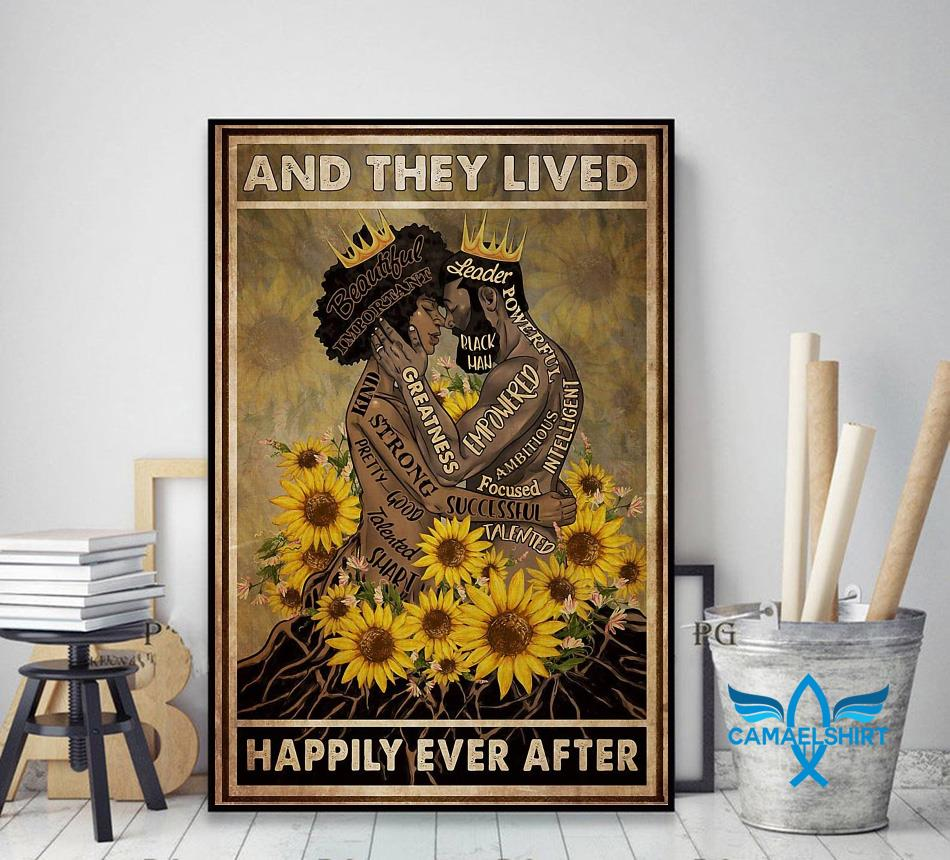 Black couple sunflower and she lived happily ever after poster canvas decor art