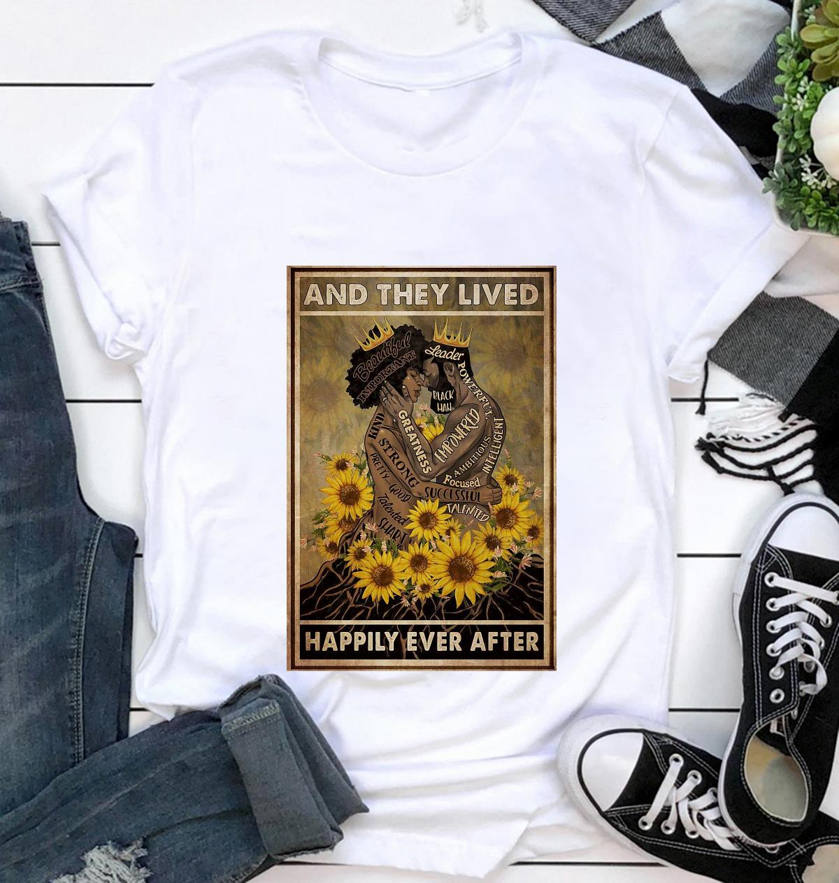 Black couple sunflower and she lived happily ever after poster canvas t-shirt