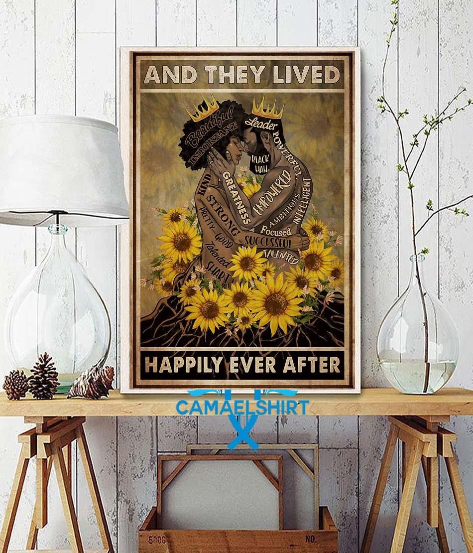 Black couple sunflower and she lived happily ever after poster canvas wall decor