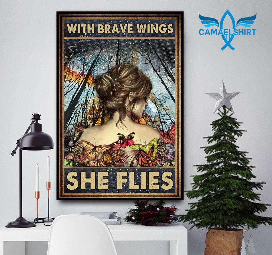 Butterfly girl with brave wings she flies poster canvas