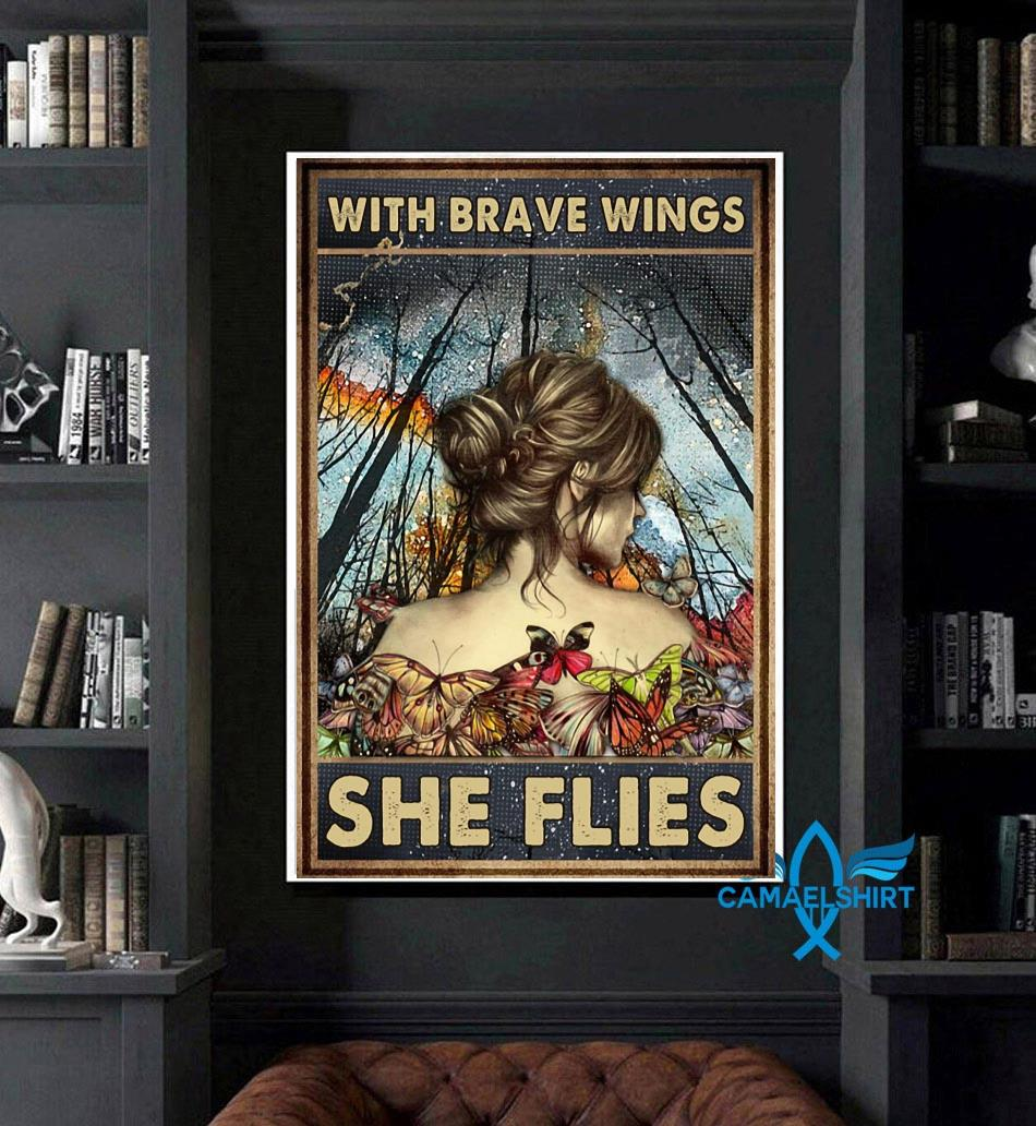 Butterfly girl with brave wings she flies poster canvas art