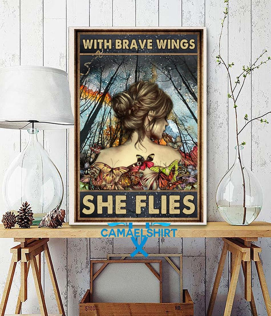 Butterfly girl with brave wings she flies poster canvas wall decor