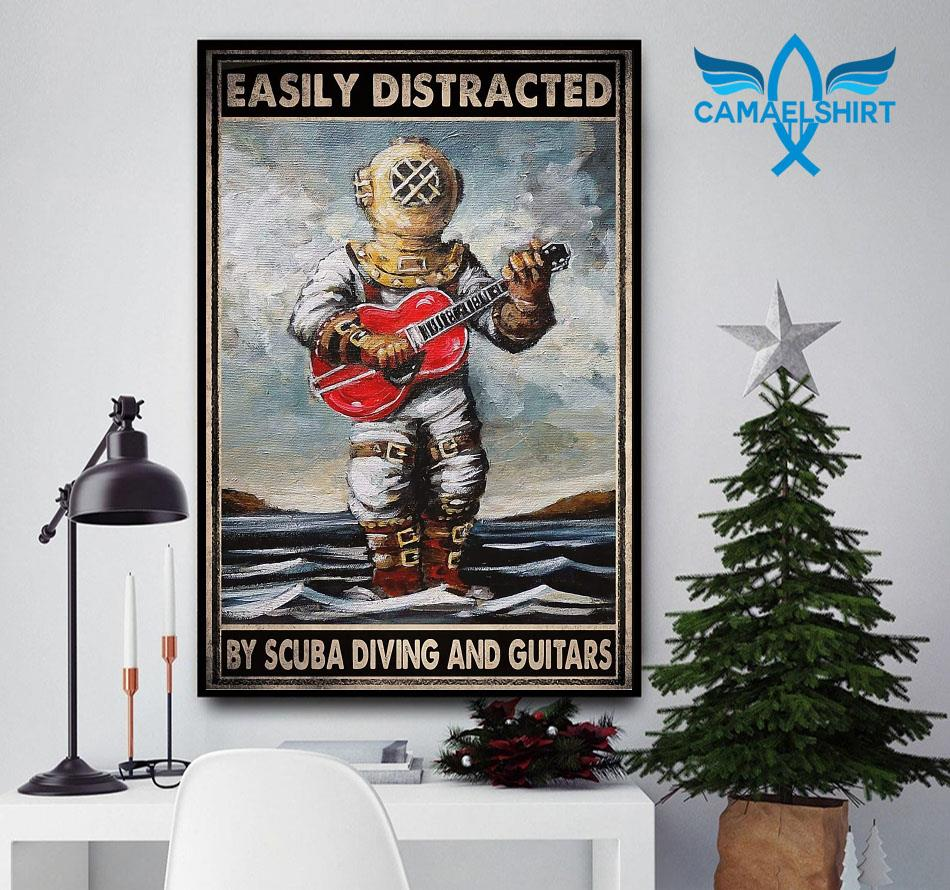 Easily distracted by scuba diving and guitars poster canvas