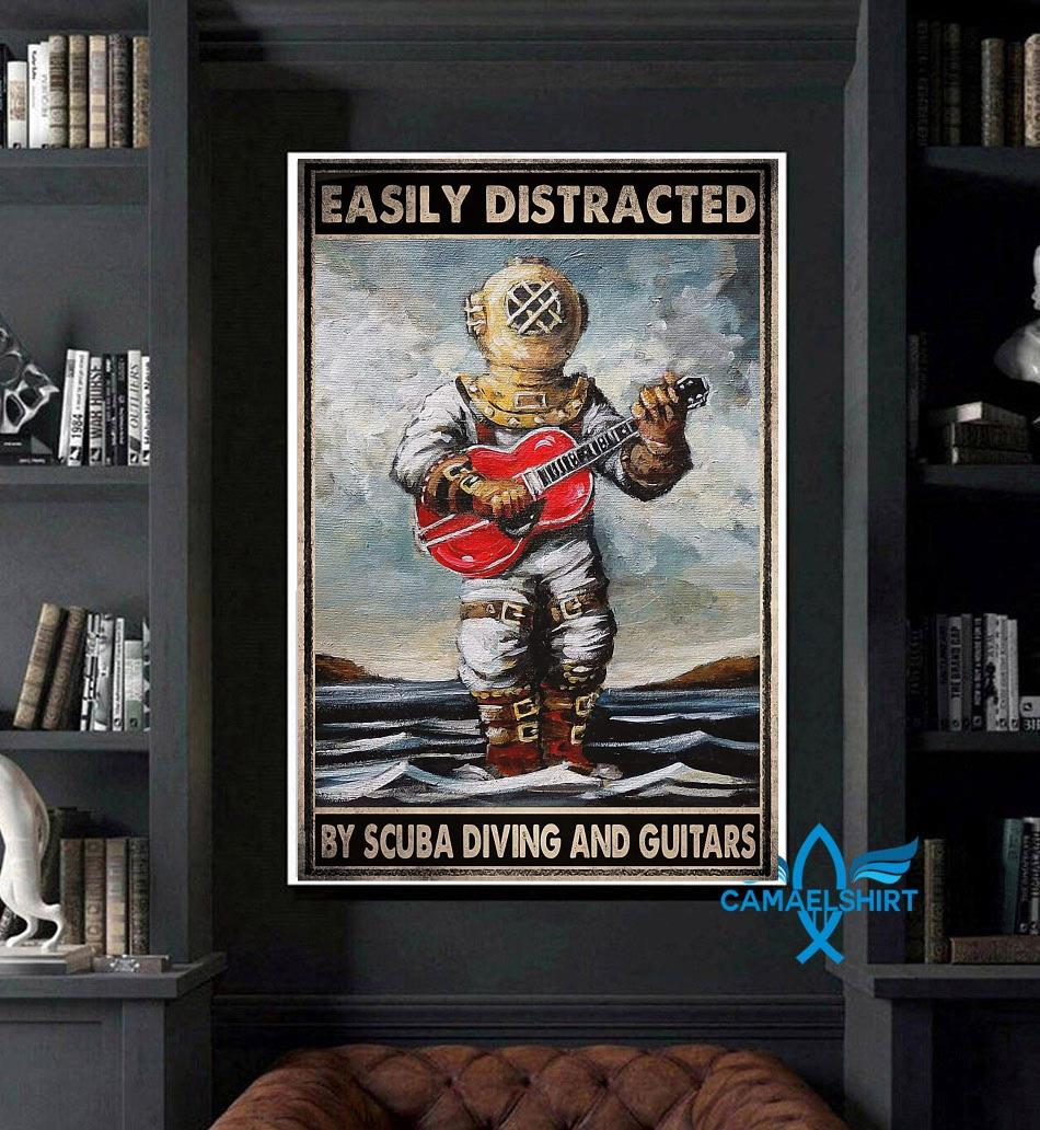 Easily distracted by scuba diving and guitars poster canvas art