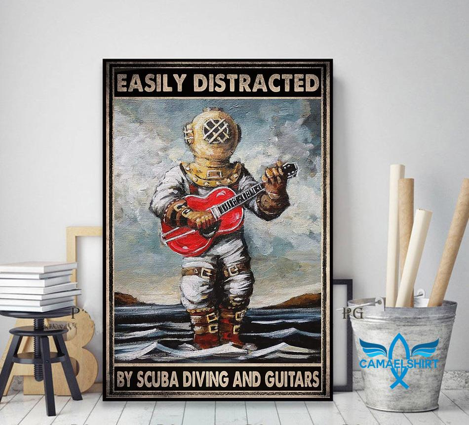 Easily distracted by scuba diving and guitars poster canvas decor art