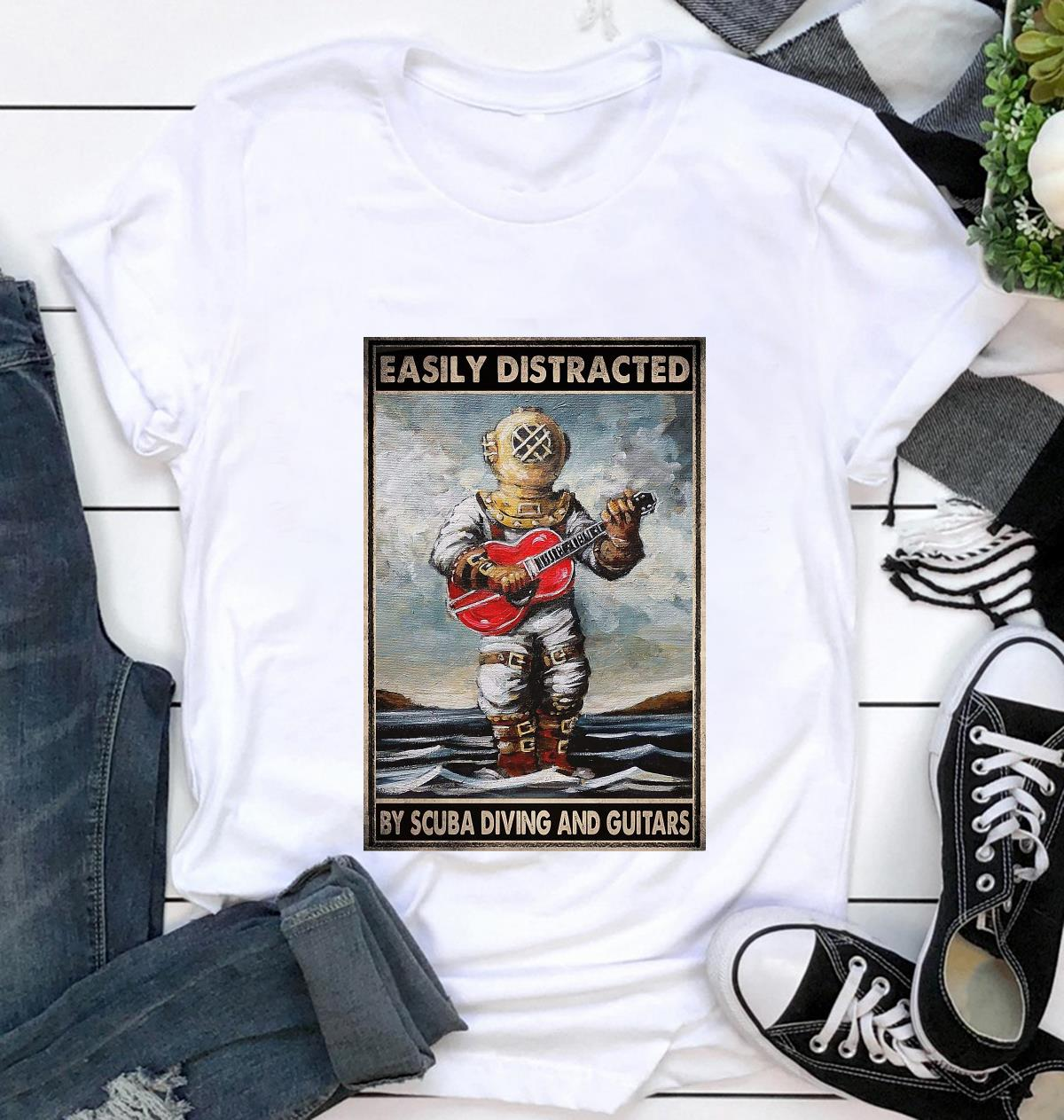 Easily distracted by scuba diving and guitars poster canvas t-shirt