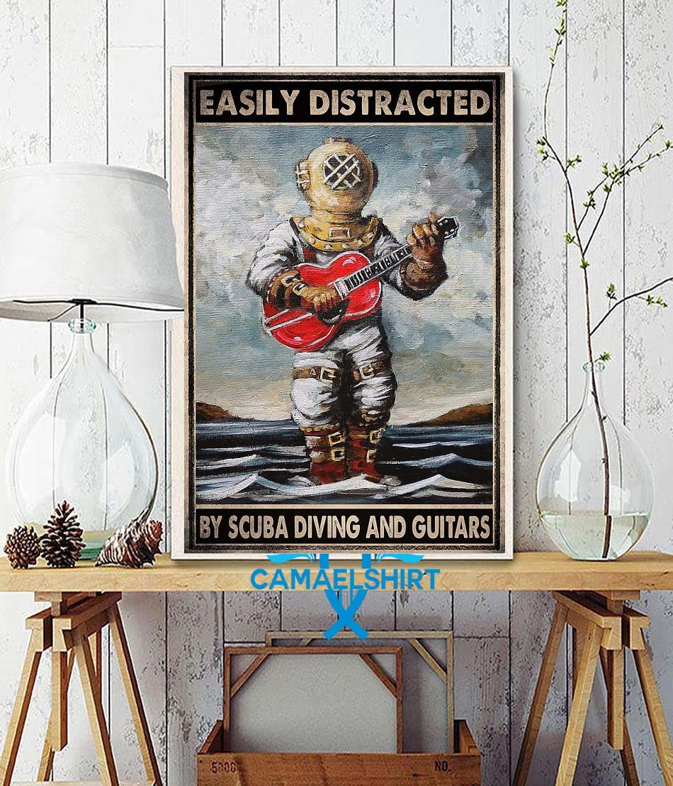 Easily distracted by scuba diving and guitars poster canvas wall decor