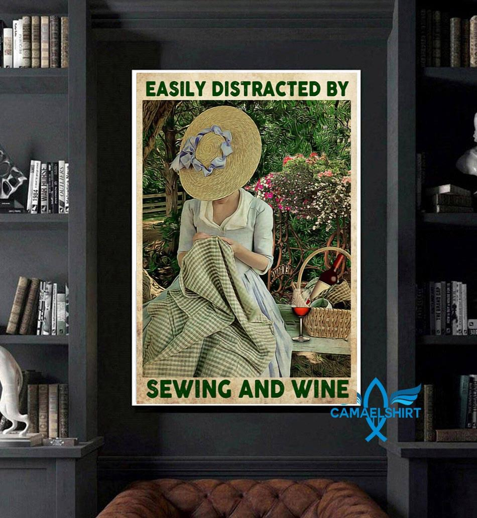 Easily distracted by sewing and wine canvas art