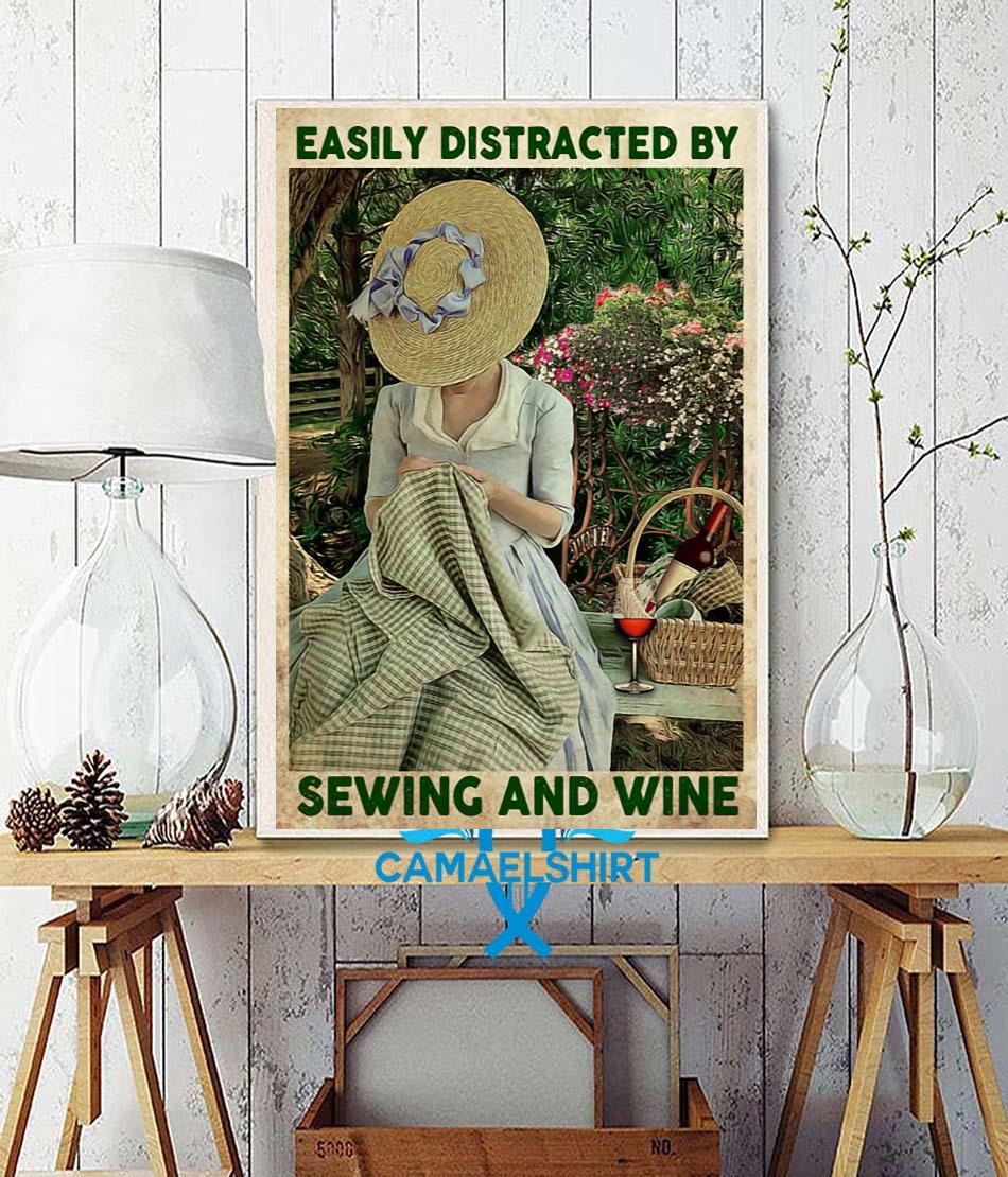 Easily distracted by sewing and wine canvas wall decor