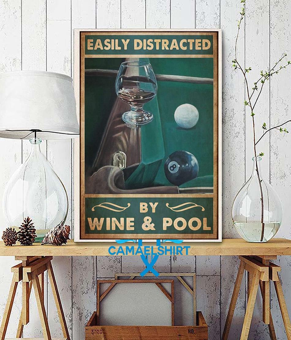 Easily distracted by wine and pool poster canvas wall decor