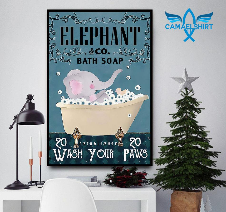 Elephant bath soap wash your paws poster canvas