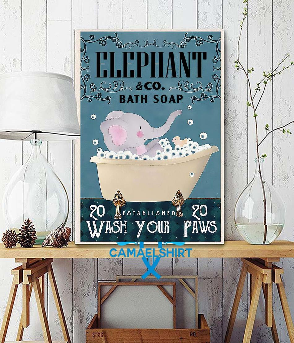 Elephant bath soap wash your paws poster canvas wall decor