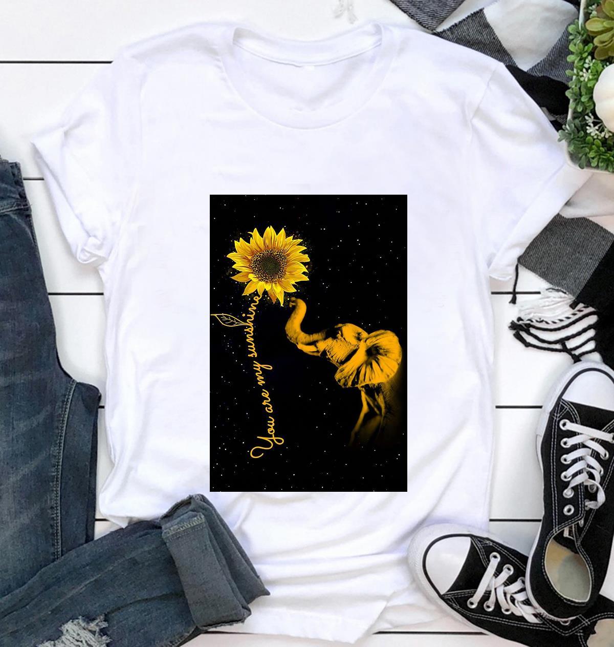 Elephant sunflower you are my sunshine sunshine canvas t-shirt