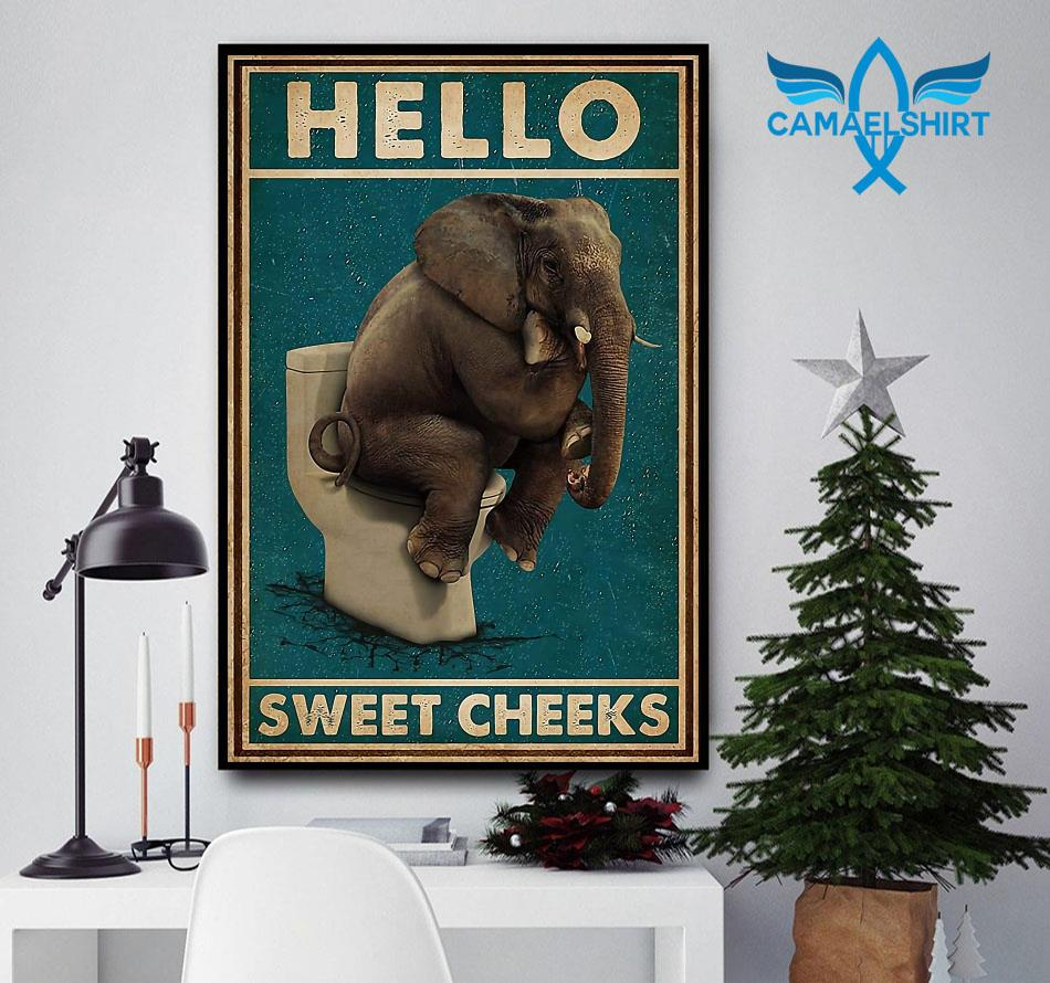 Elephant toilet hello sweet cheeks canvas