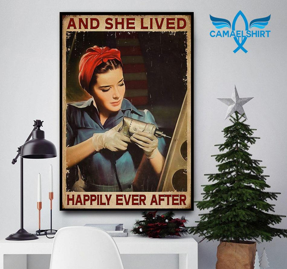 Female Electrician and she lived happily ever after poster canvas