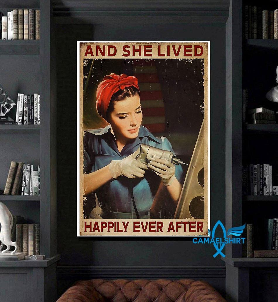 Female Electrician and she lived happily ever after poster canvas art