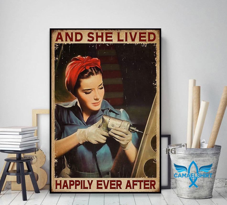 Female Electrician and she lived happily ever after poster canvas decor art