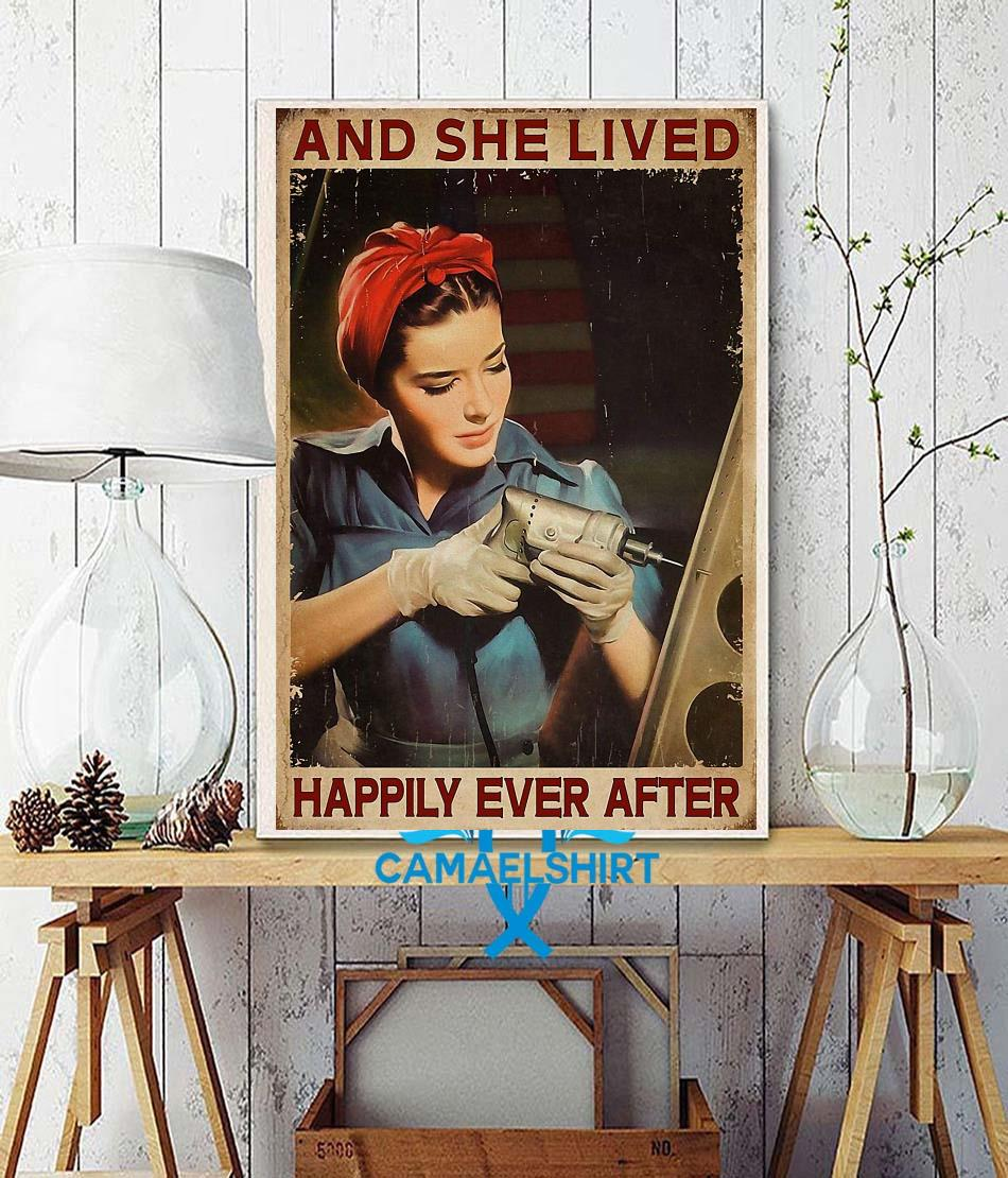 Female Electrician and she lived happily ever after poster canvas wall decor