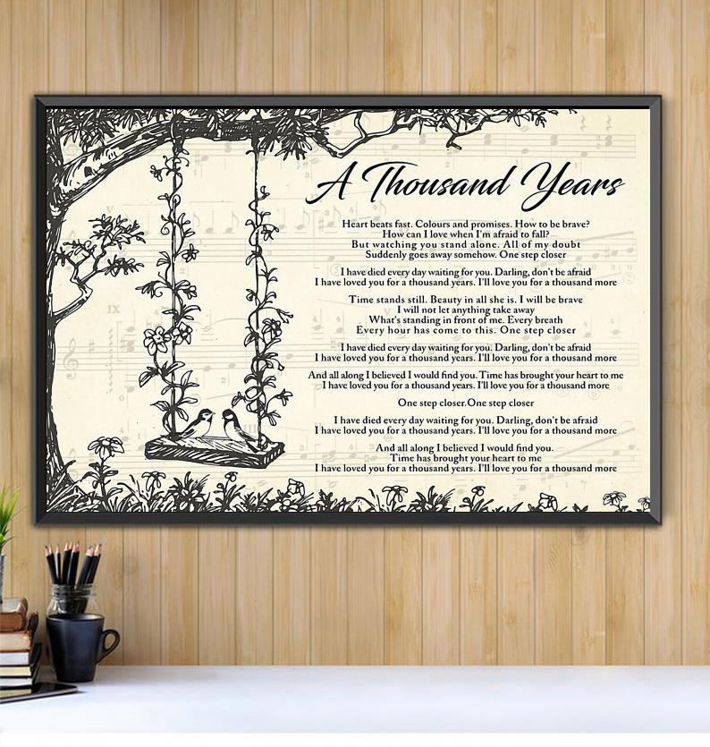 A Thousand Years lyrics poster canvas Black canvas